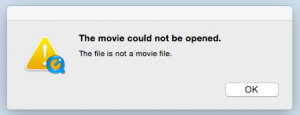 "QuickTime ""movie could not be opened"" message"