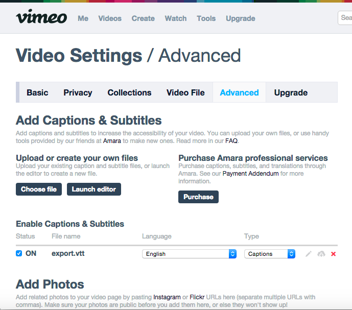 Vimeo Subtitle File Upload
